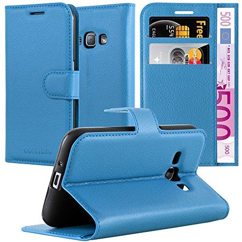 Cadorabo Custodia Libro per Samsung Galaxy J1 2015 in Königs Blau – con Vani di Carte, Funzione Stand e Chiusura Magnetica – Portafoglio Cover Case Wallet Book Etui Protezione