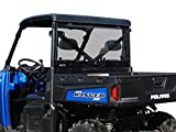SuperATV Lightly Tinted Non-Scratch Resistant Polycarbonate Rear Windshield for Polaris Ranger XP 1000 / Crew (2017+) - Easy to Install!
