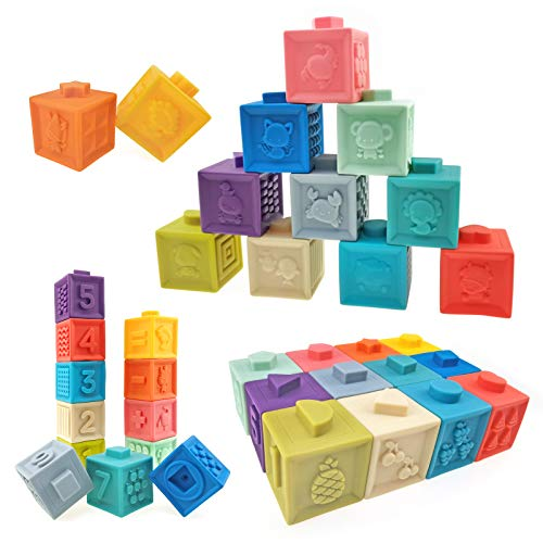 Soft Stacking Blocks for Baby Infant and Toddler, Baby Building Blocks, Teething Chewing Toys, Educational Baby Toys with Numbers, Shapes, Animals, Fruits & Textures for 0 - 3 Years Old, Pack of 12