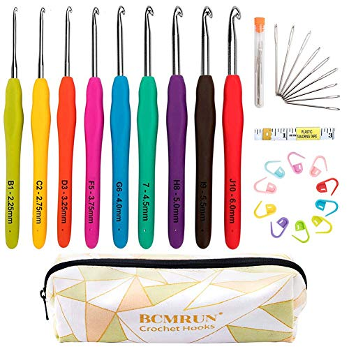 Ergonomic Crochet Hooks Set with Case, BCMRUN 2.25mm(B)-6mm(J) Soft Grip Handles Knitting Needles with Large-Eye Blunt Needles, Stitch Marker, Tape Measure, Crochet Needles Kit for Arthritic Hands