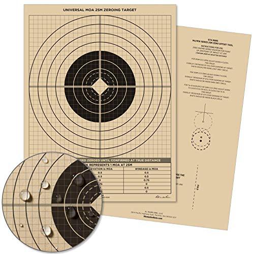 Rite in the Rain Weatherproof 25 Meter Target, 8 1/2' x 11', Tan, M4 / M16 Short Range Front, M4 / M16 Graphic Training Back, 100 Sheet Pack (No. 9126)