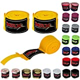 MRX BOXING & FITNESS Boxing Hand Wraps 100% Cotton Multi Colors Great for MMA Boxing Muay Thai Kick Boxing Training 160 Length (Yellow)