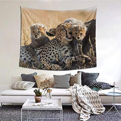 Perfect household goods Tapiz para colgar en la pared, diseño de guepardos y cachorros, estilo vintage, tapiz de microfibra de melocotón, decoración del hogar, 152 x 132 cm