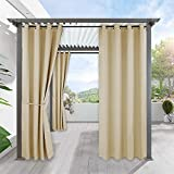 RYB HOME Outdoor Curtains Waterproof - Indoor Outdoor Blackout Privacy Drape Patio Outdoor Panel Light Block for Pool Hut Pavilion Gazebo Sun Room, 1 Piece, 52 x 108 inches Long, Biscotti Beige