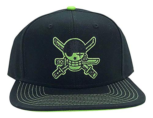 Ripple Junction One Piece Zoro Skull Flat Bill Snap Back Hat OS Black