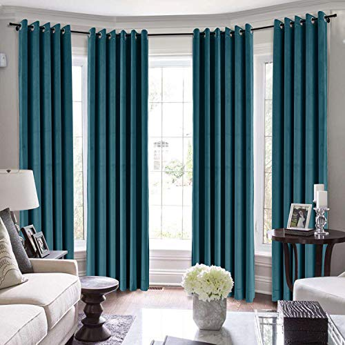 TWOPAGES Loft Curtains, 144 Inch Long Velvet for Loft Thermal Insulated Curtains for Living Room/Bedroom Blackout Window Drape (MJ11-108 Midnight Blue 1 Panel 100Wx144L)