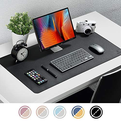 Upgrade Knodel Alfombrilla de escritorio, 40 x 80cm Estera del escritorio de oficina, Vade para escritorio hecho de cuero PU, alfombrilla del escritorio del ordenador portátil, Doble cara (Negro)