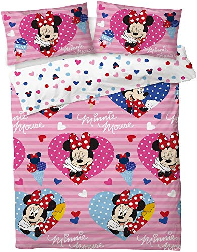 Disney Minnie Mouse'Love Hearts' Double Duvet Cover Set