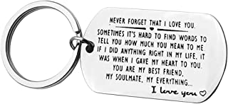 Valentines for Couple Keyring Gifts for Girlfriend Boyfriend Husband Wife Never Forget That I Love You Couple Keychain I Love You Gifts for Boyfriend Girlfriend Anniversary Birthday Gifts for Her Him