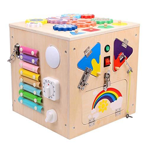 YYQIANG Caja de juguetes de almacenamiento de juguetes de caja de seis caras multifuncional Caja de intermediación Educación temprana Beneficio de inteligencia Polyedro iluminación infantil niño 1 2 a