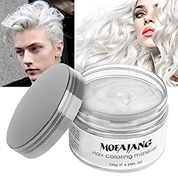 Temporary White Hair Color Wax EFLY MOFAJANG Instant Hairstyle Cream 4.23 oz Hair Pomades Hairstyle Wax for Men and Women  white