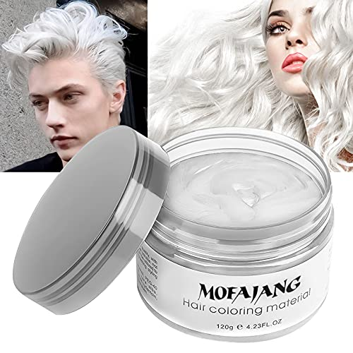 Temporary White Hair Color Wax, EFLY Instant Hairstyle Cream 4.23 oz Hair Pomades Hairstyle Wax for Men and Women (white)