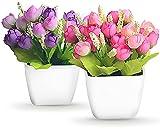 ASFINS Fiori Artificiali in Vaso, 2pz Bouquet di Artificiali in Vaso Fiori Finti per Decorazioni per Matrimonio Casa Decorazione (Rosa, Viola)