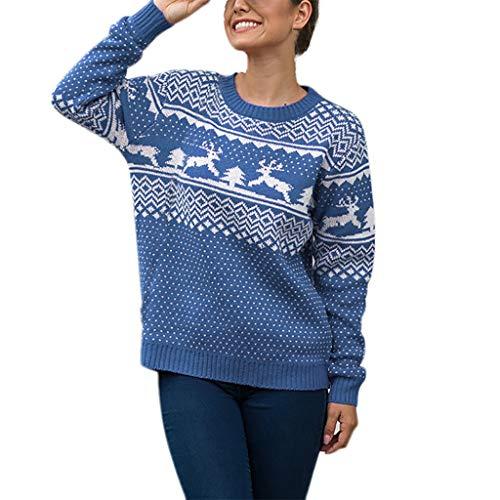 LIHAEI Pull De Noel Femme Chandails Hiver À Manches Longues Tricot ÉLans Et Arbre Quotidienne Renne Christmas Jumper Sweaters Pullover Pas Cher