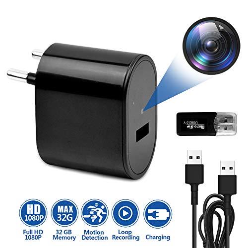 Mini Spionagecamera verborgen in oplader, Full HD 1080P bewakingscamera met video-opname/bewegingsdetectie/USB-laadfunctie/loop-opname.