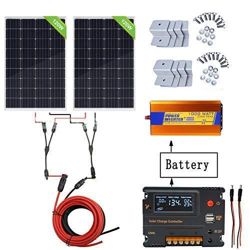 ECO-WORTHY 240W Off Grid Solarmodul Kit: 1000W 220V reiner Sinus Wechselrichter + 2 PCS 120W polykristalliner Solarpanel + 20A Batterieladegerät Controller für Home Boot RV Camp