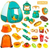 KAQINU 33 PCS Kids Camping Set, Pop Up Play Tent with Kids Camping Gear Toys, Indoor and Outdoor Camping Tools Pretend Play Set for Toddler Boys & Girls