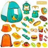 KAQINU Juego de 33 piezas para acampar para niños, tienda de campaña con juguetes para acampar, interior y exterior, herramientas de camping para niños y niñas