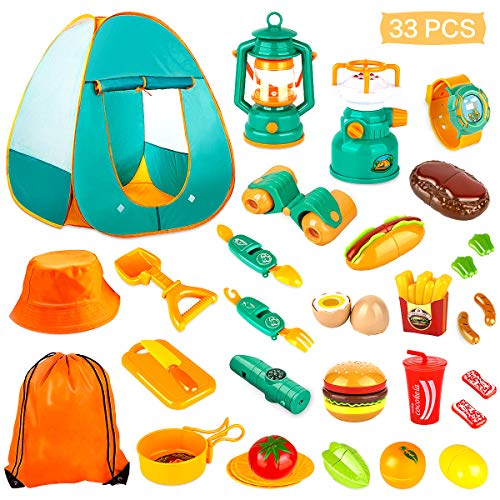KAQINU 27 PCS Kids Camping Set, Pop Up Play Tent with Kids Camping Gear Toys, Indoor and Outdoor Camping Tools Pretend Play Set for Toddler Boys & Girls