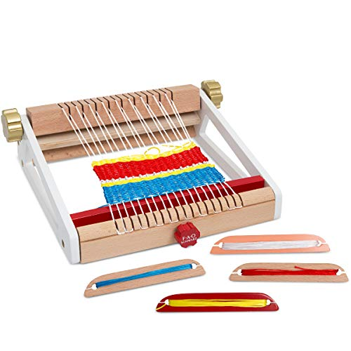 FAO SCHWARZ Kids 8-Piece Arts and Crafts Weaving Loom Set: Create Your Own Weaves and Fabric Projects with Colored String; Kit Includes Loom Frame, 4 Colored String Bundles, 3 Wooden Shuttles, Ages 4+