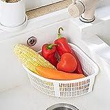 sfadf Colador para fregadero plegable, colador triangular, organizador de verduras y residuos húmedos, filtro hueco, frutero, estante de cocina, para guardar platos y alimentos.