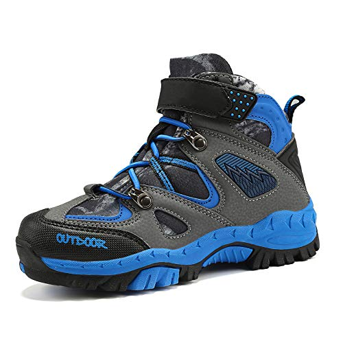 VITUOFLY Boys Hiking Boots Kids Warm Winter Snow Boots Girls Hiking Shoes Outdoor Adventure Trekking Shoes Anti-Skid Sneakers Steel Buckle Durable Comfortable Blue Size 9