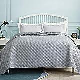 BEDSURE Tagesdecke Bettüberwurf 220x240 grau - gesteppt quilt Überwurf Bett Überwurfdecke leicht, bedspreads Tagesdecken 220x240cm XXL bei Ultraschall genäht