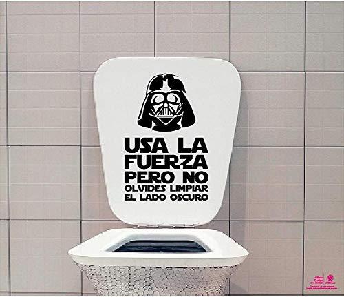 Vinilo decorativo pegatina WC, Decoración para el baño, frase Darth Vader. COLOR NEGRO + Regalo Adhesivo SPILARTS® Marca Registrada