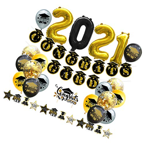 Amosfun 2021 Graduation Party Decoration Congrats Grads Balloons Banner Bunting Flag Black Gold Cake Topper Photo Booth Props for Grad Prom Party Supplies 34pcs