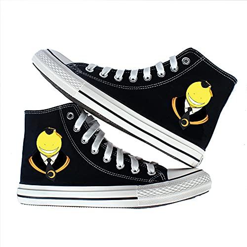 Vngbds Zapatos de Lona Assassination Classroom Zapatos de Anime Zapatillas Altas Zapatillas de Suela de Goma for Estudiantes Casuales con Cordones Zapatos Planos para Estudiantes Adultos