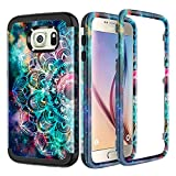 Lamcase for Galaxy S6 Case Shockproof Dual Layer Hard PC & Flexible Silicone High Impact Durable Bumper Protective Case Cover Samsung Galaxy S6 G920, Mandala/Galaxy
