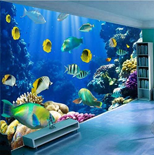 3D Carta da Parati Acquario pesce rosso corallo Fotomurali Moderna Murale Tessuto Non Tessuto Poster Gigante Pittura Soggiorno Camera da Letto Decorazioni per la Casa, 250x175cm