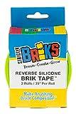 Brik Tape - Cinta autoadhesiva de silicona para juguetes - Para paredes, mesas y estantes - 100 % compatible con todas las grandes marcas - 2 tacos de ancho - Azul y verde - Pack de 2 - 99cm