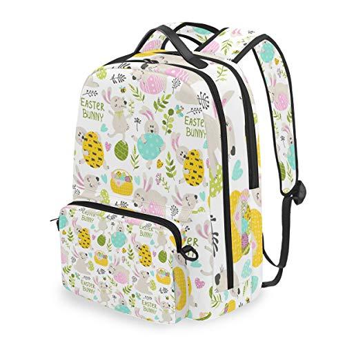 Rucksack mit abnehmbarem Kreuztaschen-Set Osterhase Kaninchen Computer Rucksäcke Büchertasche für Reisen Wandern Camping Daypack