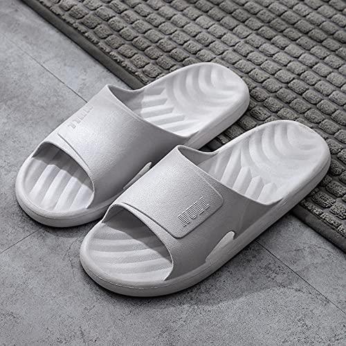 WUHUI Baño Sandalias de Punta Descubierta, Zapatillas de Moda Antideslizante para el baño, Baño de Verano Masculino Soft slovers, Gray_40-41