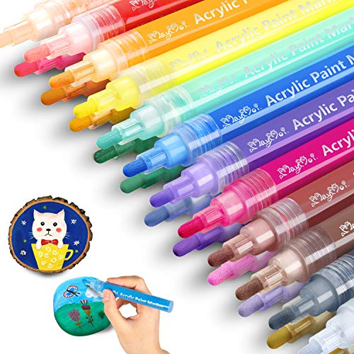MayMoi Acrylic Paint Pens Reversible Tip - 24 Colors Medium Tip Paint Pens for Rock Painting, Stone, Ceramic, Glass, Wood, Fabric, Canvas (Water-Based, Non-Toxic & Quick Drying)