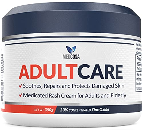 Adult Rash Cream - Fast Relief from Sweat Rash, Heat Rash & Adult Diaper Rash (Incontinence Cream) - Thick Moisturizing Barrier Cream. Zinc Oxide to Reduce Redness & Irritation (350g)