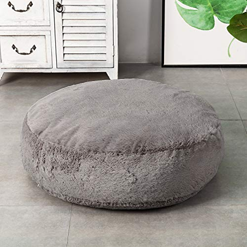 HIGOGOGO Round Faux Fur Floor Cushion, Fluffy Floor Pillow Pouf with Removable Cover Thickness: 8' Soft Shaggy Meditation Cushion Thick Seating for Living Room Bedroom Sofa, Grey, 24'x24'