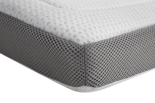 ALLRANGE 3-Inch Luxury Lurex Quilted Memory Foam Mattress Topper, Removable Quilted Cover, Mesh Gusset Sides, Hypoallergenic, Rolled Package, Queen Size
