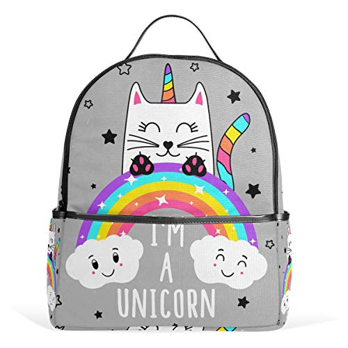 Cat Unicorn Animal Casual Student Backpack, Rainbow Star Cloud Durable Unisex School Bag Bookbag Daypack Back Bag Shoulder Bag for School Travel