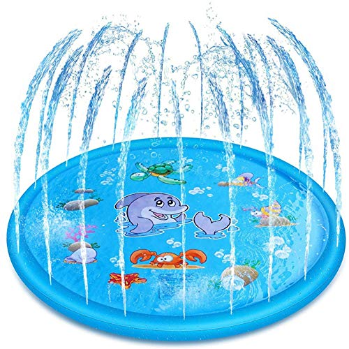 Gebuter Water Games Mat Inflatable Lawn Spray Water Cushion Beach Pad Sprinkler for Outdoor