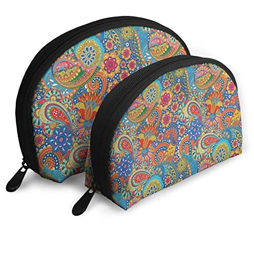 Colorful Paisley Floral Pattern Classical Portable Bags Clutch Pouch Coin Purse Cosmetic Travel Storage Bag 2Pcs Handbag