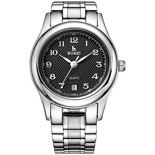 BUREI Damen Uhren Einfach Schwarz Quarz Armbanduhr Datumsanzeige mit Silber Edelstahlband Uhr für Frauen