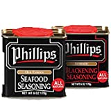 Combo Pack of Phillips Seafood Seasoning & Blackening Seasoning 2 Pack Bundle used in Phillips...