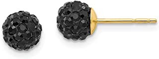 14k Yellow Gold 6mm Black Crystal Post Stud Earrings Ball Button Fine Jewelry Gifts For Women For Her