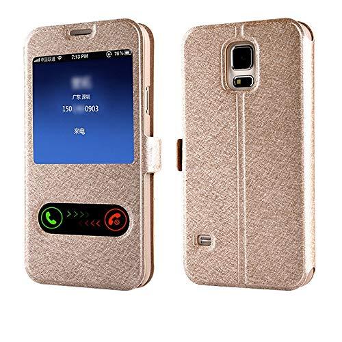 RZL Teléfono móvil Fundas para Samsung Galaxy J1 Mini Ace J2 J3 J5, Dual Piel Ventana de la Vista del Caso del Soporte del tirón para el Samsung Galaxy J7 Prime 2016 J510 J710 E5 E7 on5 ON7