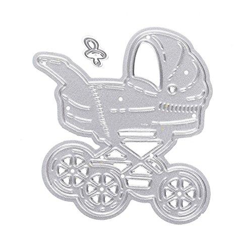 Metall Stanzschablone Baby Kinderwagen Schnuller Schablone Scrapbooking Prägeschablone DIY Papier Karten Album Craft Form – Silber