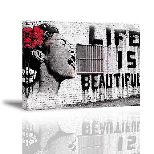 """Piy Painting Quadro su Tela Stampa Disegno su Tela Canvas Impermeabile Bansky Stile """"La Vita è Belle""""Decorazioni per Camera da Letto Soggiorno Camera da Pranzo Cucina 30x40cm"""