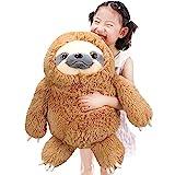 Winsterch Large Sloth Stuffed Animal,Kids Fluffy Stuffed Sloth Birthday Gifts,Big Plush Sloth (20 Inches, Brown)