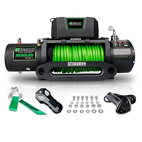 STEGODON New 9500 lb. Load Capacity Electric Winch S3,12V Waterproof IP67 Electric Winch with Hawse Fairlead, Synthetic Rope Winch with Wireless Handheld Remote and Wired Handle(Green-Rope)